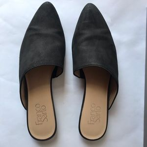 Franco Sarto Tatiana Nubuck Leather Mules Black